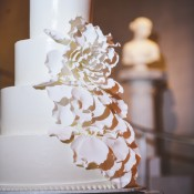 Four Tier Round Wedding Cake With Cascading Flower