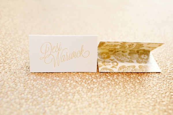 Gold Floral Calligraphy Place Card