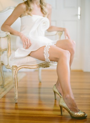 Gold Glitter Peep Toe Bridal Shoes