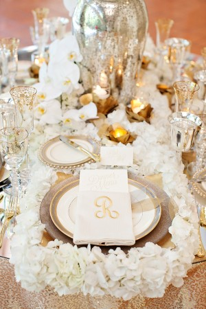 Gold Mercury Glass and White Hydrangea Reception Table Setting