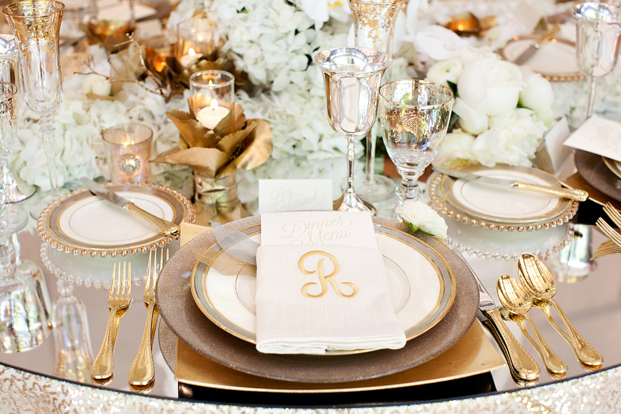 Gold Reception Table Place Setting
