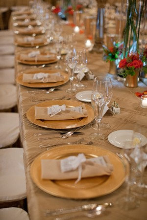 Gold Reception Tables With Fall Arrangements 2