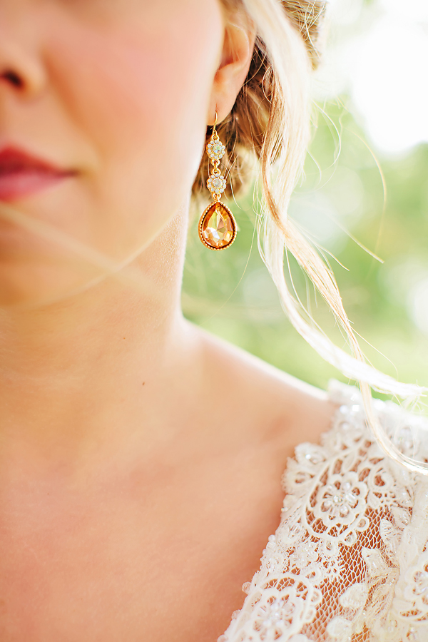 Gold and Crystal Tear Drop Earrings