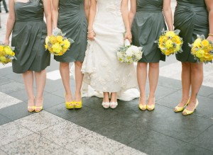 Gray Bridesmaids Dresses Yellow Shoes