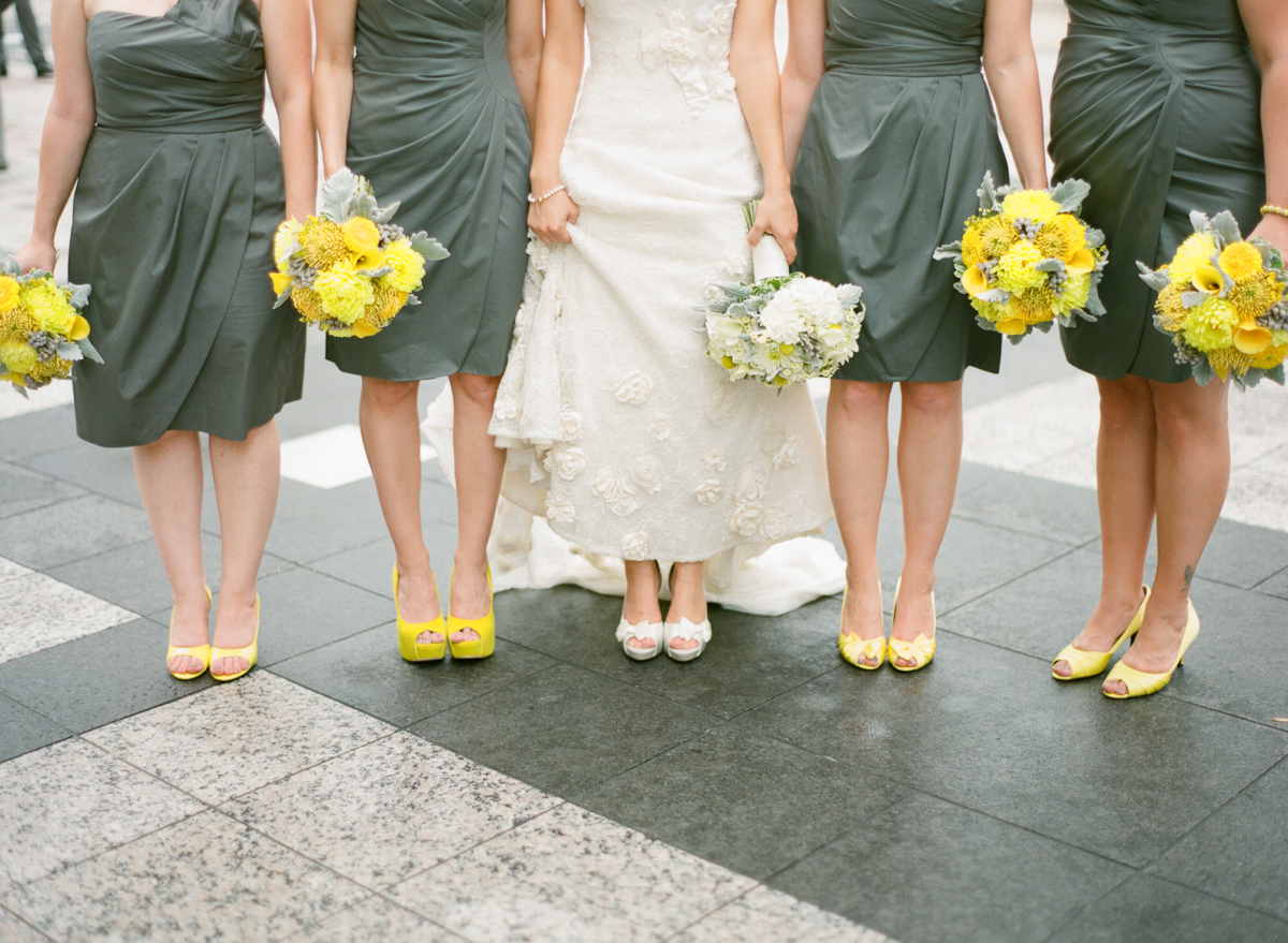 Gray Bridesmaids Dresses Yellow Shoes - Elizabeth Anne ...