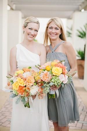 Gray Halter Style Bridesmaids Dress