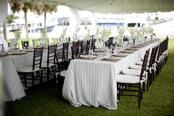 Harborside Rehearsal Dinner Tables With Striped Tablecloths