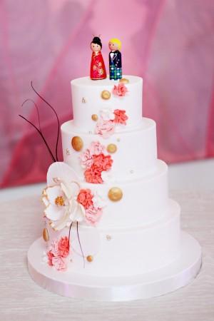 Japanese Inspired White Wedding Cake