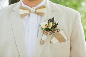 Khaki and White Stripe Bow Tie and Handkerchief1