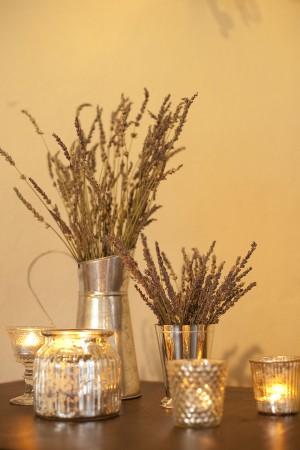 Lavender in Silver Vases