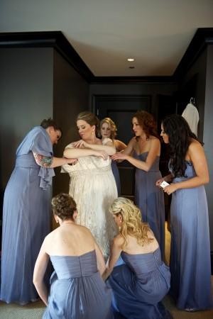 Long Blue Gray Bridesmaids Dresses