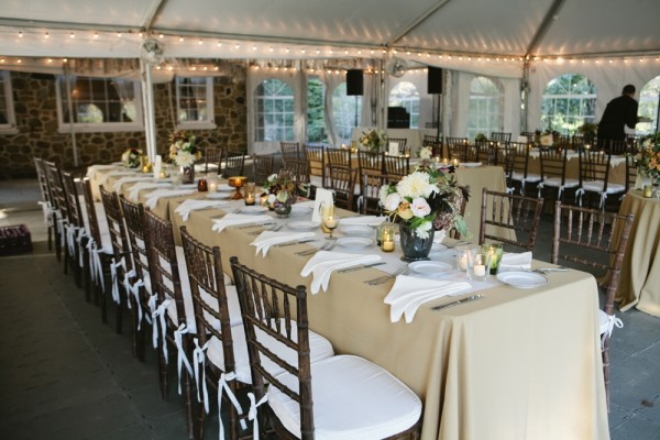Long Gold and Cream Reception Tables