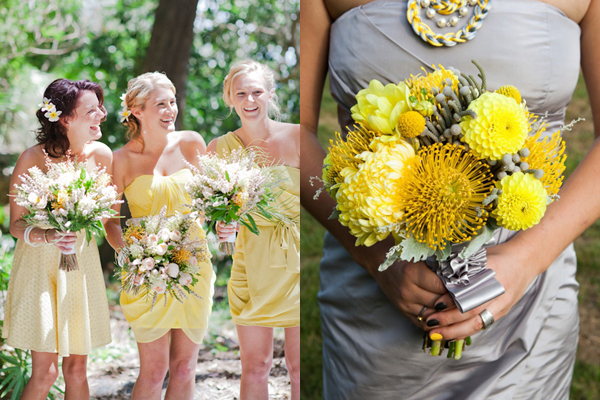 Modern Yellow Wedding Bouquets