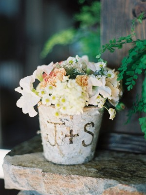 Monogrammed Birch Pot With Flowers