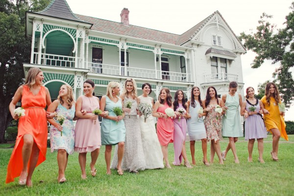 Multicolored Bridesmaids Dresses
