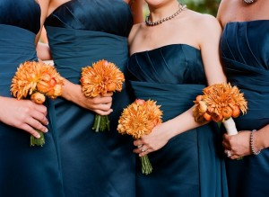 Navy Strapless Bridesmaids Dresses