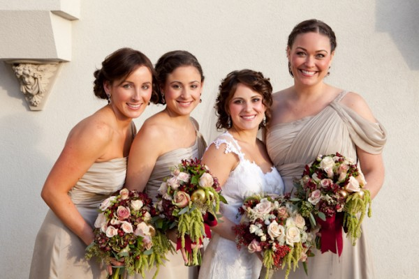One Shoulder Champagne Colored Bridesmaids Dresses