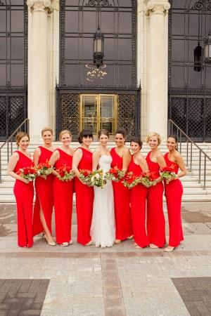 One Shoulder Red Bridesmaids Dresses