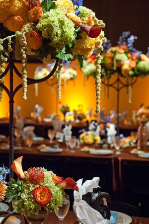 Orange Green and Gold Reception Floral Decor
