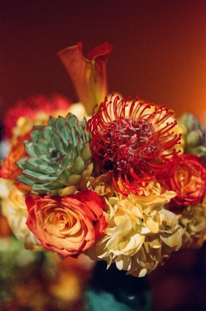 Orange Green and Yellow Fall Floral Arrangement