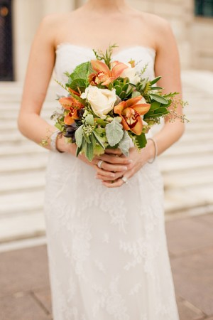Orange Orchid Bridal Bouquet