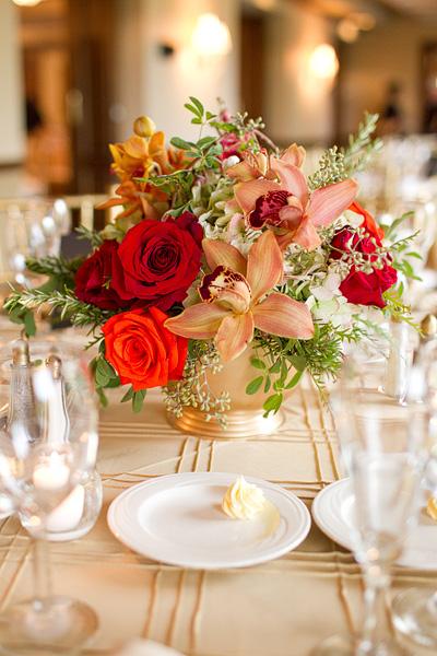 Orange Red And Pink Flowers In Gold Vase Elizabeth Anne