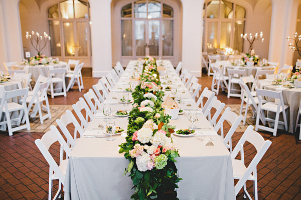 Pale Rose Hydrangea And Greenery Reception Table Runner