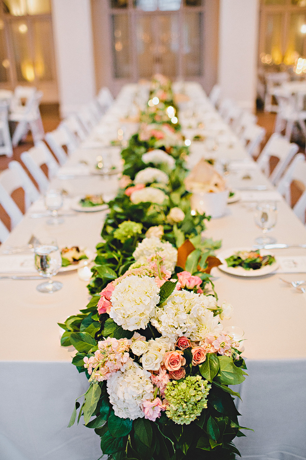 New Pale Rose Hydrangea and Greenery Reception Table Runner  BA76