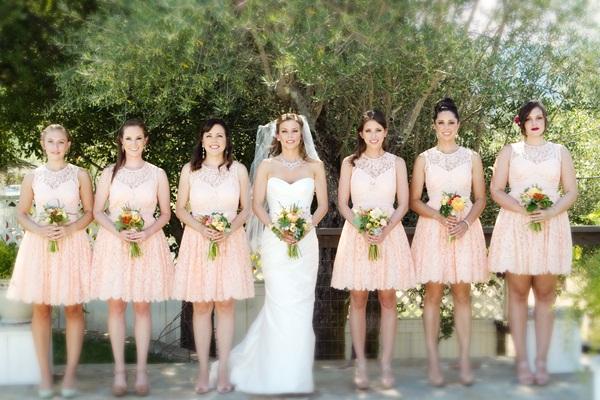 Peach Lace Bridesmaides Dress