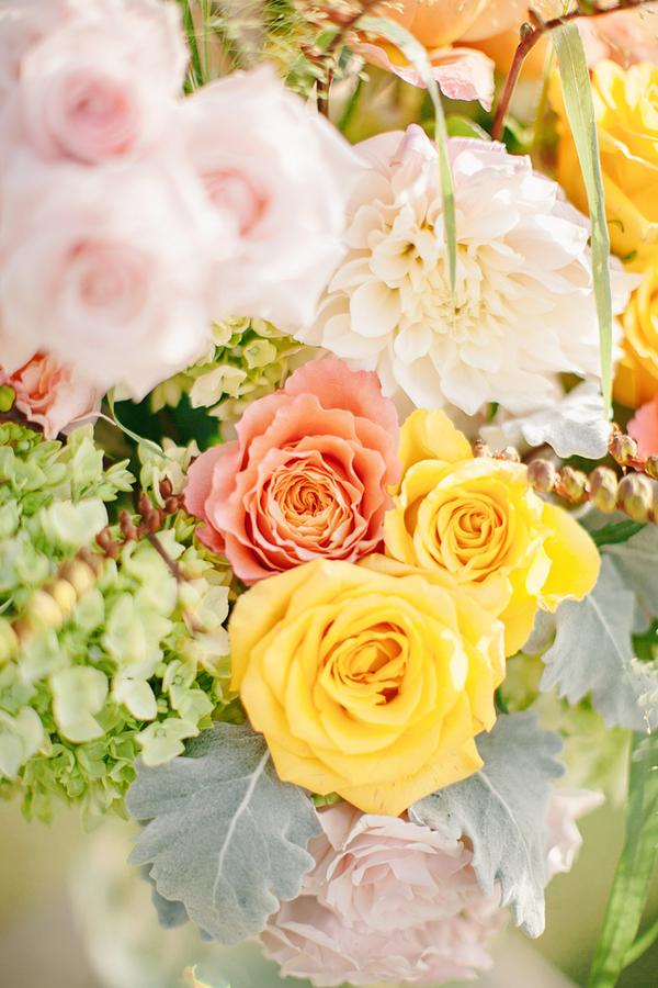 Peach Pink And Green Flower Arrangement Elizabeth Anne Designs