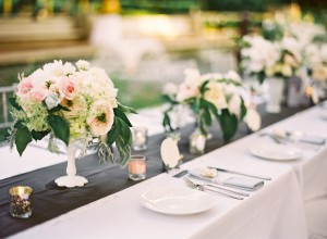 Peach Pink and Green Reception Arrangements in White Vases