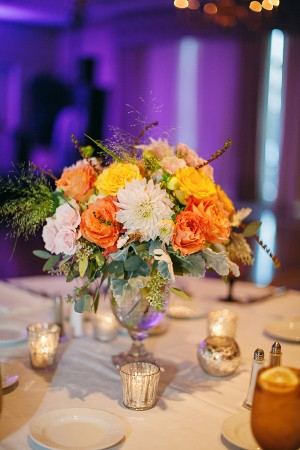 Peach Pink and Yellow Reception Arrangement