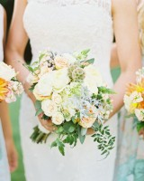 Peach White and Green Bouquets