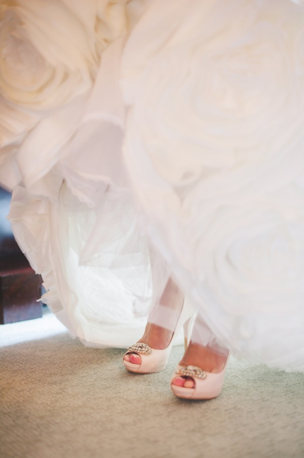 Peep Toe Bridal Shoes With Jeweled Brooches