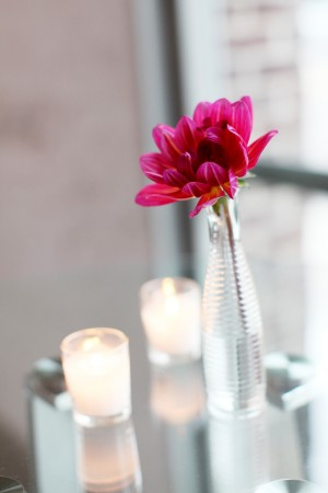 Pink Flower in Ribbed Glass Vase