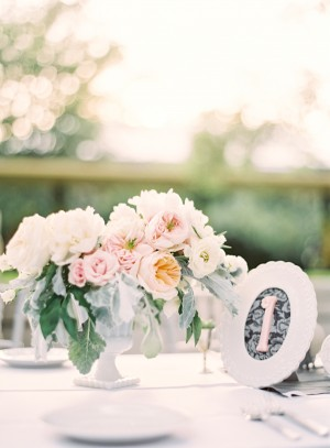 Pink Roses and Dusty Miller Wedding Centerpiece