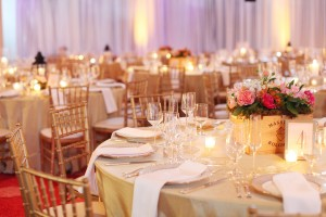 Pink White and Green Reception Centerpiece in Wooden Wine Crate
