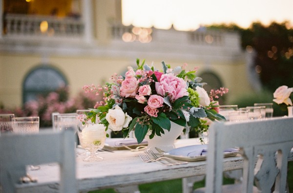 Pink and White Reception Table Arrangement in White Container