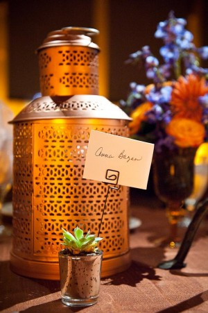 Place Card in Mercury Glass Votive With Succulent