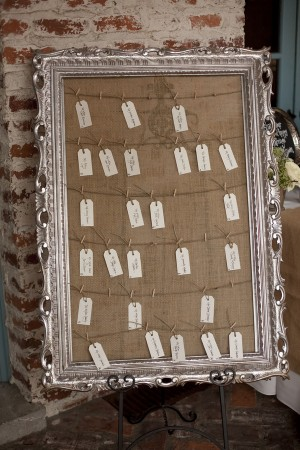 Place Cards on Burlap in Silver Frame