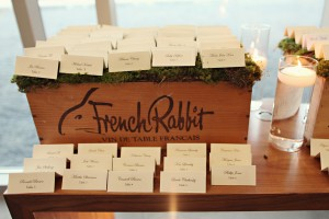 Place Cards on Moss in Wooden Wine Crate
