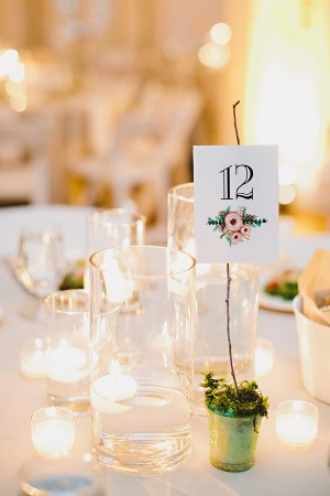 Potted Table Number With Watercolor Floral Motif