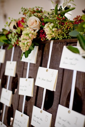 Reception Place Cards Pinned on Ribbon