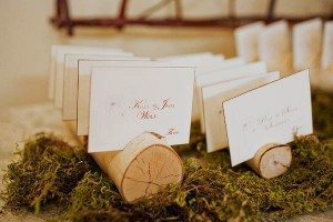 Reception Place Cards in Branch Wood on Moss