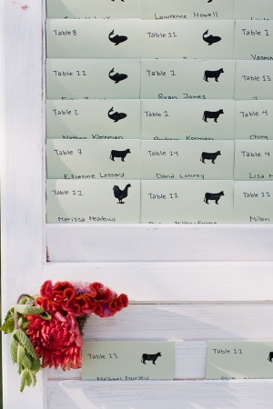 Reception Table Place Cards on White Shutters 1