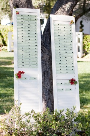 Reception Table Place Cards on White Shutters