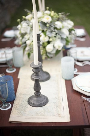 Reception Table With Paper Map Runner