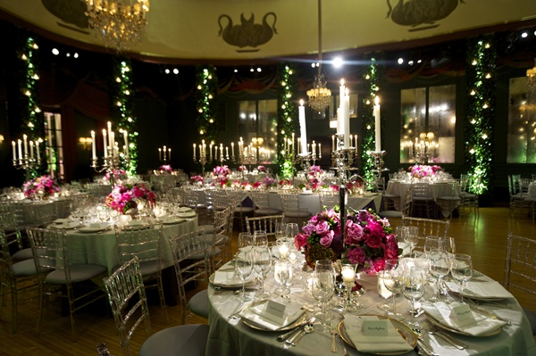 Reception Tables With Silver Linens