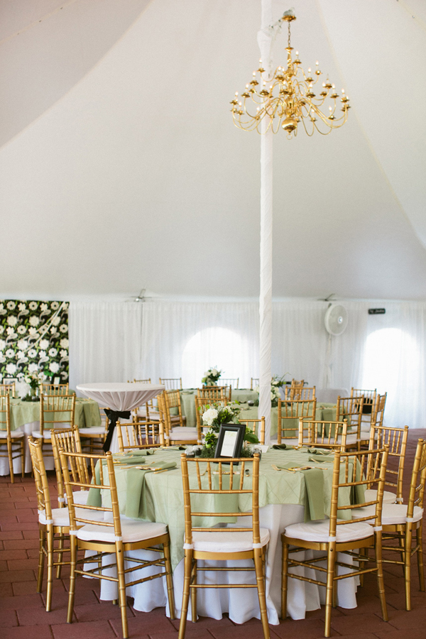 Reception Tent With Gold Chandelier