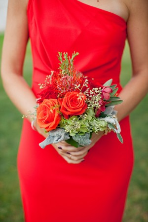 Red Bridesmaids Dress and Fall Bouquet
